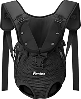 Pawaboo Pet Carrier Backpack, Adjustable Pet Front Backpack Cat Dog Carrier Backpack Safety Travel Bag, Legs Out, Easy-Fit for Traveling Hiking Camping for Small Medium Dogs Puppies