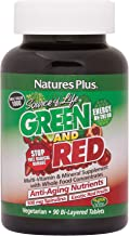 NaturesPlus Source of Life Green and Red Bi-Layered Tablets - 500 mg Spirulina, 90 Vegetarian Tablets - Green & Red Superf...