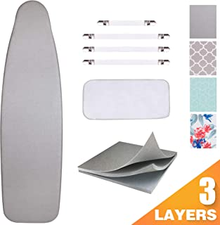 """SUNKLOOF Silicone Coating Ironing Board Cover and Pad Resists Scorching and StainingIroning Board Cover with Elasticized Edges and Pad 15""""x54"""" 4 Fasteners and 1 Large Protective Scorch Mesh Cloth"""