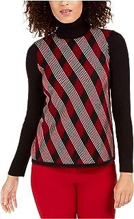 ANNE KLEIN Womens Black Argyle Long Sleeve Turtle Neck T-Shirt Sweater AU Size:14