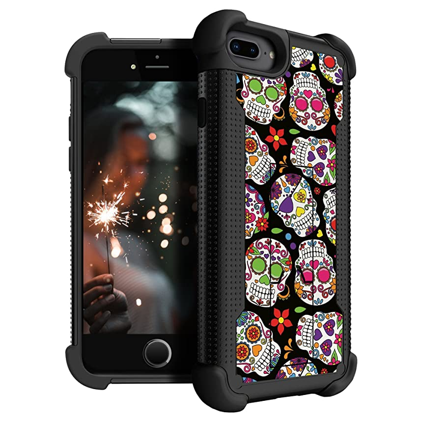 MINITURTLE Kickstand Case Compatible with Apple iPhone 7 Plus/Apple iPhone 8 Plus [Dual-Layer Hybrid Phone Case] [Shockwave Cases by MINITURTLE] - Girly Sugar Skulls