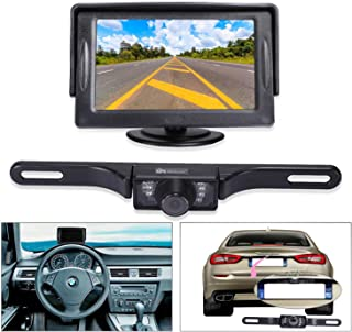 """Noiposi Backup Camera and Monitor kit for Car Universal Waterproof Night Vision Linsence Plate Rear View Camera and 4.3"""" T... photo"""