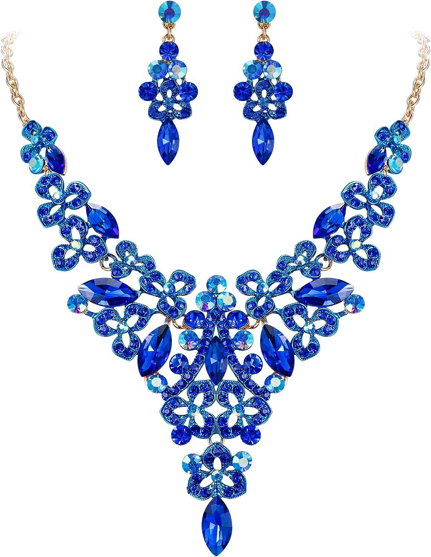 EVER FAITH Women's Austrian Crystal Elegant Bridal Hollow Flower Leaves Necklace Earrings Set