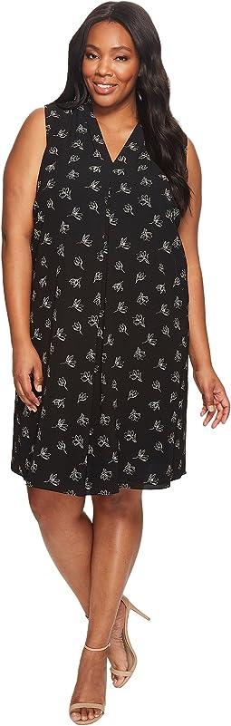 Plus Size Sleeveless Fluent Flowers Invert Pleat Dress