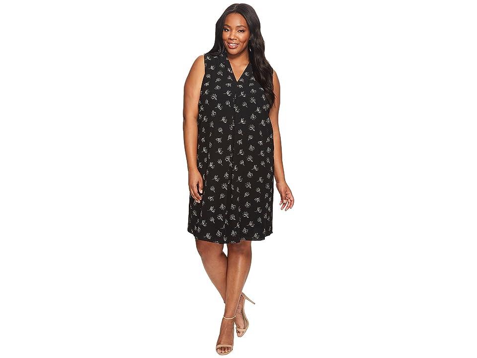 Vince Camuto Specialty Size Plus Size Sleeveless Fluent Flowers Invert Pleat Dress (Rich Black) Women