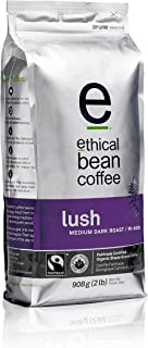 Ethical Bean Fair Trade Organic Coffee, Lush Medium Dark Roast, Whole Bean Coffee  - 908g (2lb) Bag