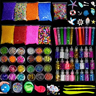 Slime Supplies Kit, 85 Pack DIY Craft Slime Making Stuff included Fishbowl beads, Foam Balls, Glitter Jars, Glitter Powder, Fruit Slices, Sugar Paper, Sea Style Accessories, Slime Tools for Kids