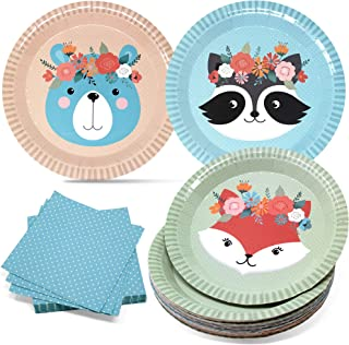 """Woodland Baby Shower Plates and Cocktail Napkins Set for Boy or Girl - Sturdy 400gsm 9"""" Disposable Plates - Tableware Set ..."""
