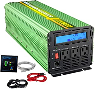 EDECOA 1500W Peak 3000 watt Power Inverter Pure Sine Wave Car Power Inverter DC 24V to 110V AC with Remote Control and LCD Display