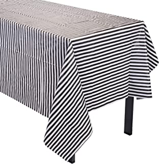 JINSEY Pack of 3 Plastic Red White Stripe Print Tablecloths Party Picnic Table Covers 3 Pack