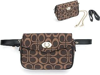 Women Fashion Waist Packs Fanny Waist Bag For Women Belt Bag with Chain Shoulder Be Crossbody Bags (P Signature)