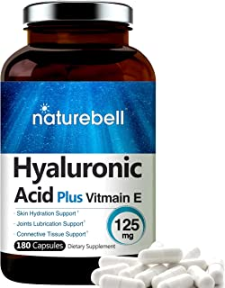 NatureBell Hyaluronic Acid with Vitamin E, 125mg,180 Capsules, Supports Antioxidant, Skin Hydration and Joints Lubrication...