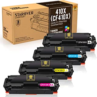 STAROVER 410A 410X cartuchos de tóner compatibles para HP 410A HP 410X CF410X CF410A CF411X CF412X CF413X para HP Color Laserjet Pro M377DW M452NW M452DW M452DN M477FDN M477FNW M477FDW (4 paquetes)