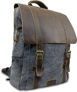 Laptop Rucksack Retro 15 - Echt Leder Vintage Rucksack für die Uni, Schulrucksack oder Business - universal einsetzbar – Ein lässiger Unisex Backpack / Daypack original von My1St™ Dunkel-Grau