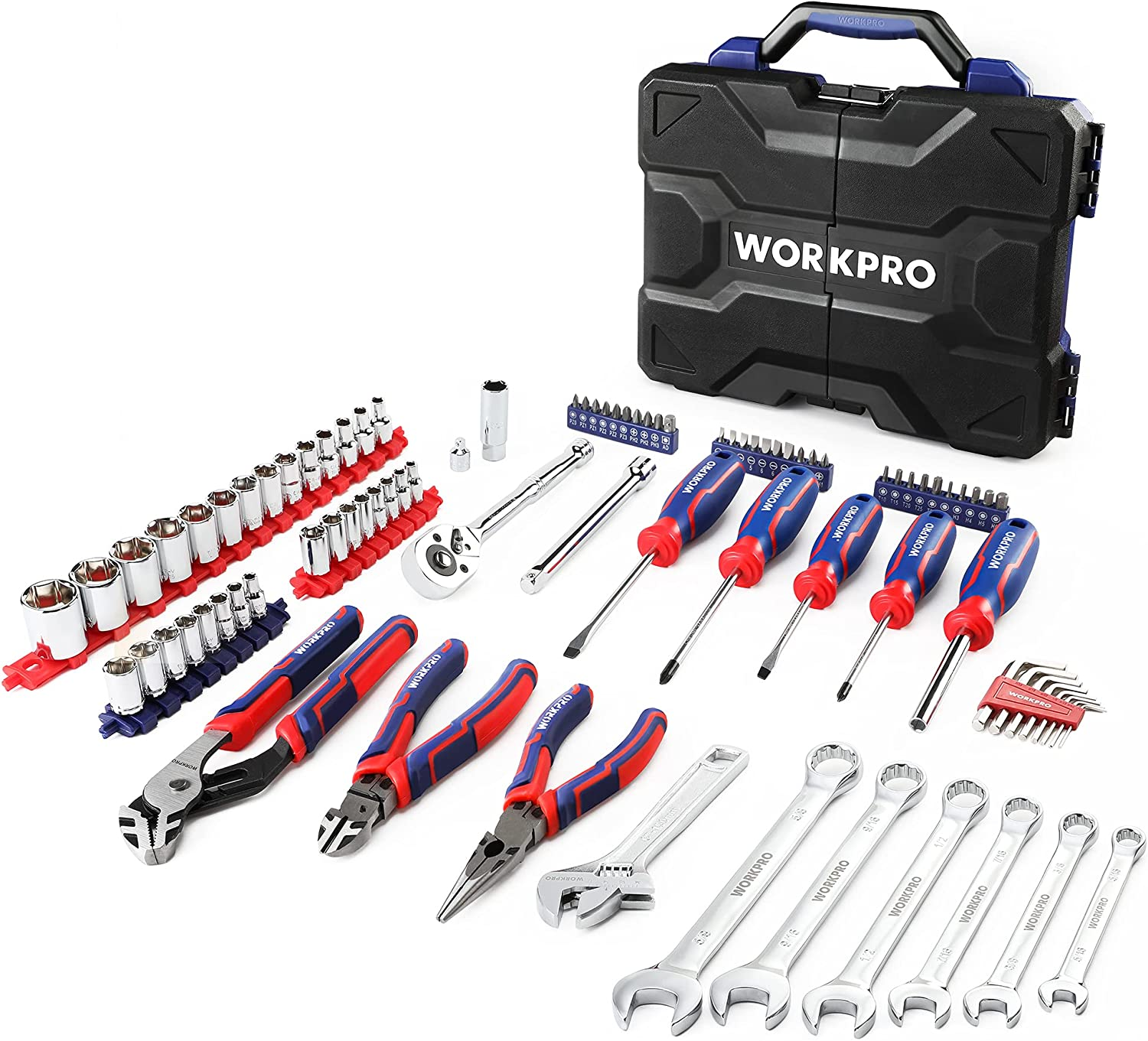 WORKPRO 87-piece Max 56% OFF Tool Set Mechanic S Tools Includes Kit Max 84% OFF Pliers