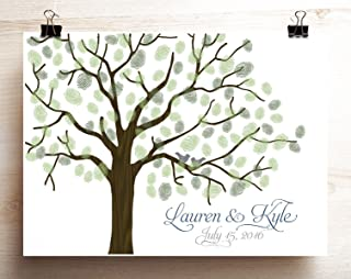 Wedding Guest Book Alternative Woodgrain Look Thumbprint Tree Poster with Lovebirds on Branches Canvas or Paper