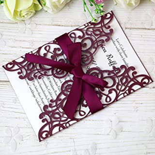PONATIA 25PCS 5.12 x 7.1 '' Laser Cut Wedding Invitations Cards with Envelopes for Wedding Bridal Shower Engagement Birthday Invite (Burgundy)