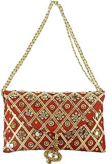 Kuber Industries Silk Traditional Mirror Work Envelope Clutch/Hand Purse Bag for Women/Girls (Red)-KUBMART11447, Standard