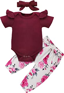 Newborn Baby Girl Clothes Ruffled Romper Hoodie Floral Shorts Pants Headband Toddler Bodysuit Outfit Summer