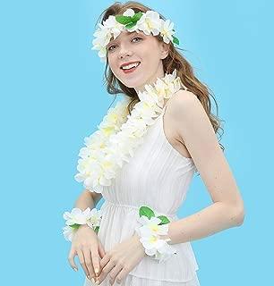 JSSHI Lush Hawaiian Headpiece,Hawaiian Flower Leis Jumbo Necklace Bracelets Headband Set with Leaf for Hawaiian Luau Party Decoration Supplies (with Green Leaves,White)