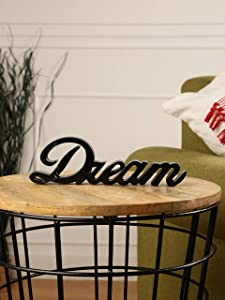 Purestory Tabletop Freestanding Dream Sign,Decorative Wooden Blocks Farmhouse Home Decor,Bedroom Kitchen Living Room Table Centerpiece Words.Decorative Wooden Word Signs for Home Decor - Black - Dream