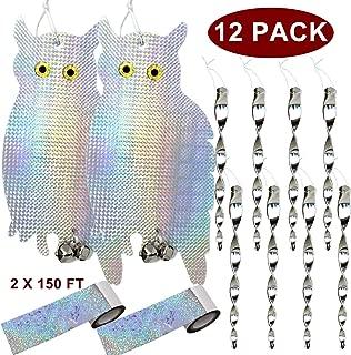 JALOUSIE 12 Pack Bird Repellent Bundle Bird Scare Tape Bird Deterrent Reflective Owl and Spinning Rods