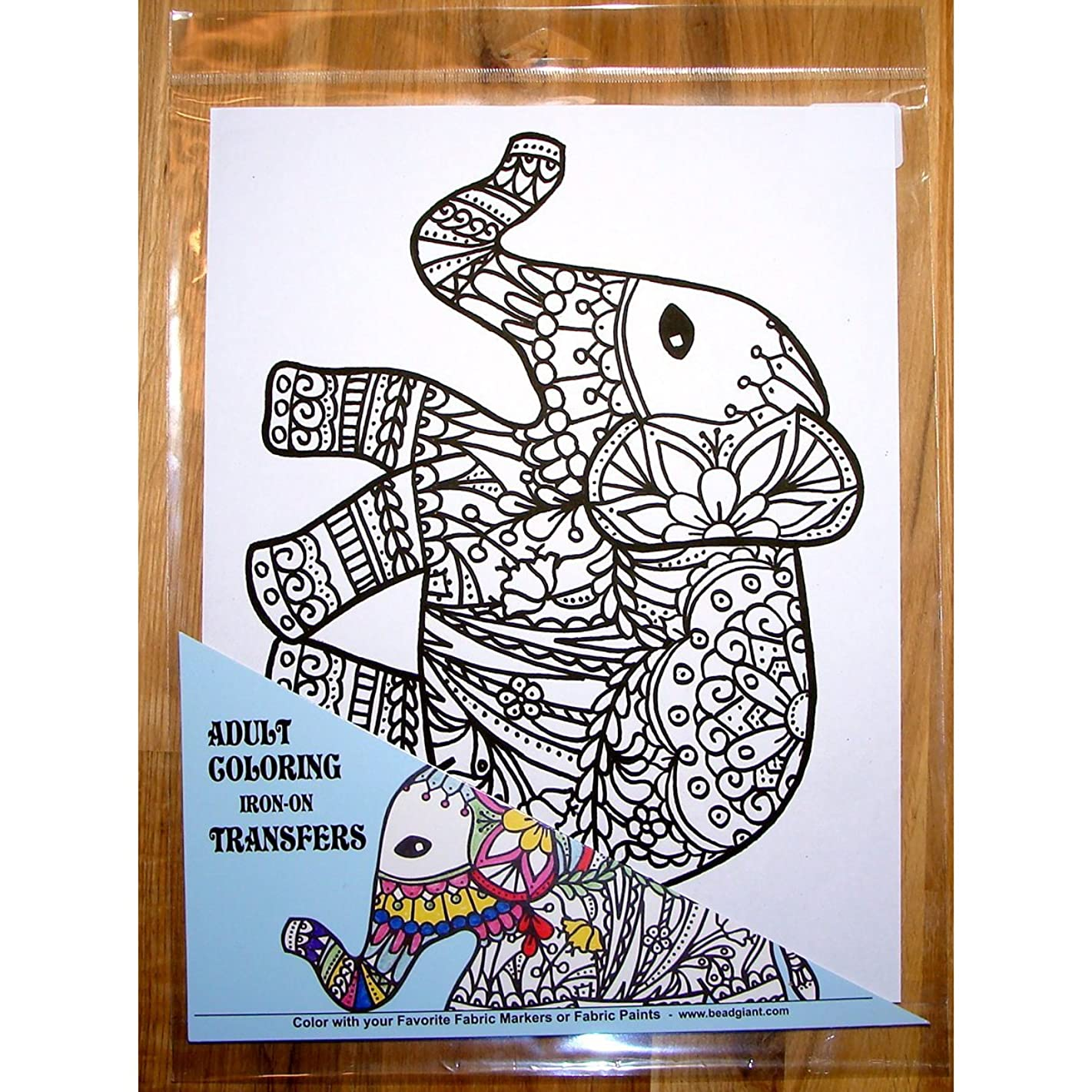 Zendoodle Iron On Transfers Adult Coloring Iron On Transfer Elephant