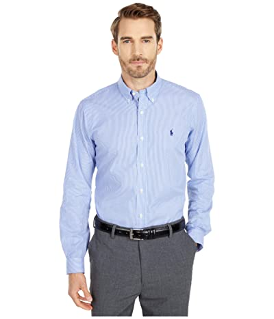 Polo Ralph Lauren Classic Fit Poplin Sport Shirt (Blue/White Hairline Stripe) Men