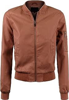 Womens Classic Varsity Bomber Jacket with Sleeve Zipper Pocket Detail