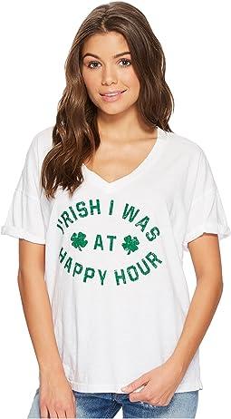 The Original Retro Brand - I'Rish I Was At Happy Hour Short Sleeve Slub V-Neck