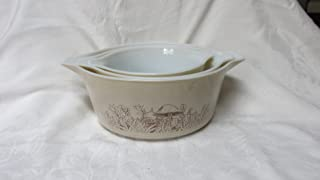 Pyrex Set of 3 Baking Bowls Forest Fancies Mushroom Motif.