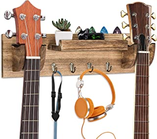 Guitar Wall Hanger - Powbacksy Guitar Wall Mount Double Guitar Hanger Wall Mount Wood Guitar Holder with 4 Hooks and Pick ...