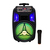 DZK Trolley Karaoke Bluetooth Party Speaker with Remote, Built-in Amplifier & Wireless Mic Sound Box Entertainment Portable