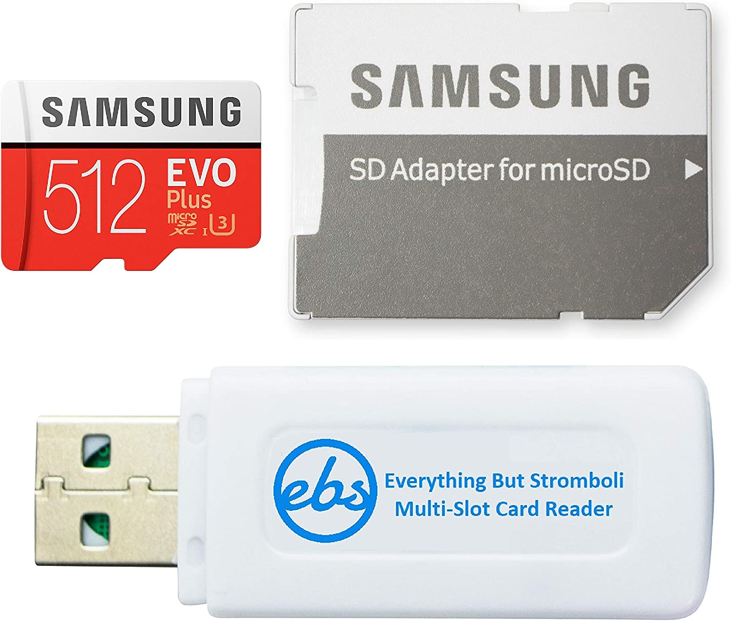 Samsung EVO Plus 512GB MicroSD Memory Card for Samsung Tablet Works with Galaxy Tab A7 FE 5G, Tab S7 FE, A7 Lite Tablet (MB-MC512) Bundle with (1) Everything But Stromboli SD & MicroSDXC Card Reader