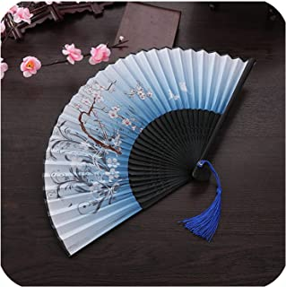 Xiao-Jing Summer Folding Fan Bamboo Silk Fan Hand Held Home Decoration Crafts,Color15