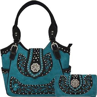 Western-Stil Strass Concho West Verdeckte Tragetasche Landhaushandtasche Damen Schultertasche Brieftasche Set