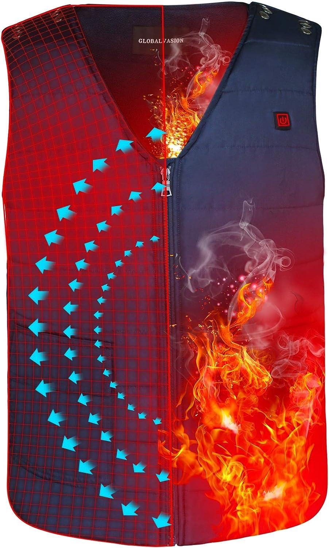 Autocastle Men Women Winter Rechargeable Electric Battery Heated Vest,3 Heat,Navy