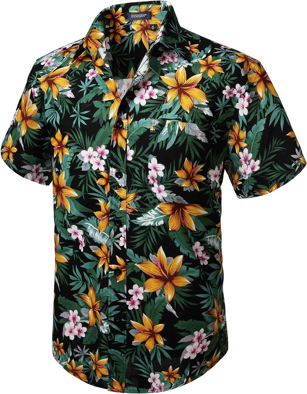 HISDERN Camisas Aloha Hawaiana Funky de Manga Corta Bolsillo Delantero Vacaciones de Verano Impreso Playa Camisa Informal de Hawaii S-2XL