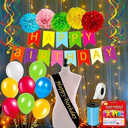 Party Propz Multicolour Birthday Decoration kit Combo Items - 48 Pcs Set with Happy Bday Sash, Pom pom, Metallic Balloons, Birthday Banner Ribbon with Fairy Light for Kids, Husband, Boys, Girls