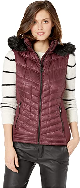 Zip Front Knit and Down Vest A820141G