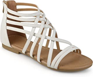Journee Collection Womens Wide Width Flat Gladiator Sandals White, 5.5 Wide Width US