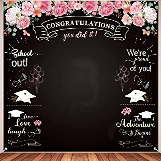 Congratulation Graduation Backdrop, Fabric Floral Chalkboard Congrats Grad Photography Backdrop Background Congratulations...