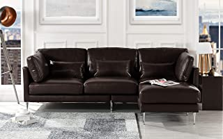 Modern Leather Sectional Sofa, L Shape Couch (Dark Brown)