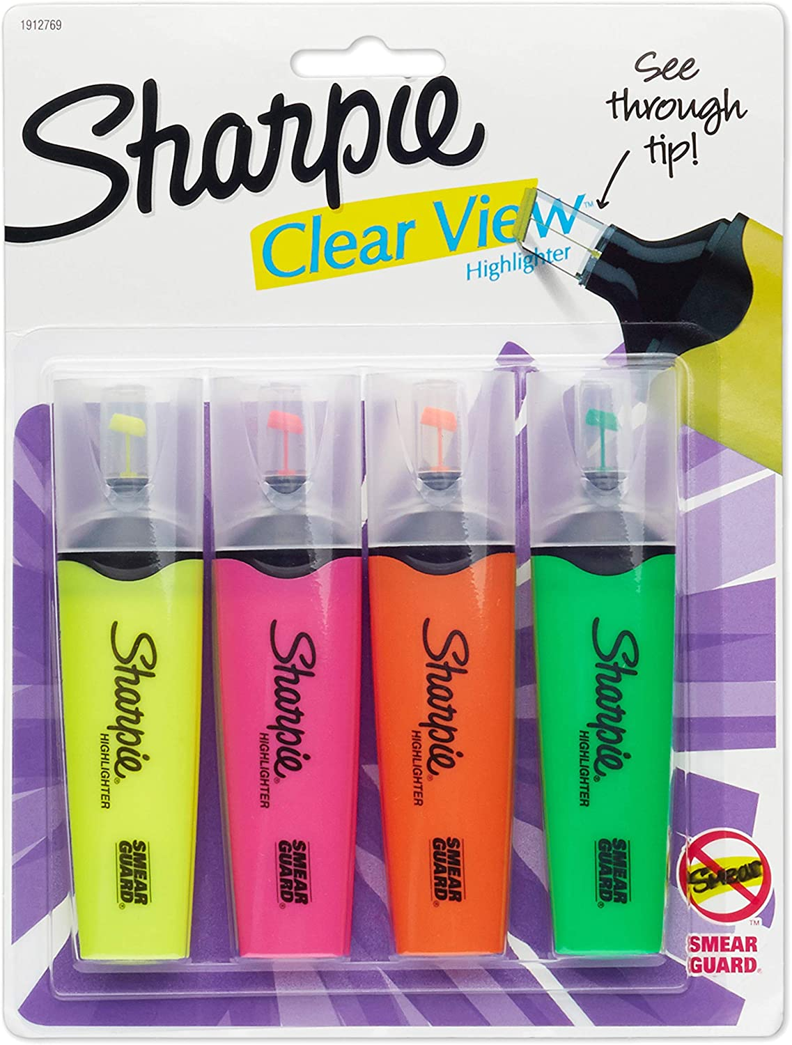 1912769 Clear View Max 71% OFF Highlighters Chisel Assorted NEW before selling Tip 4- Colors