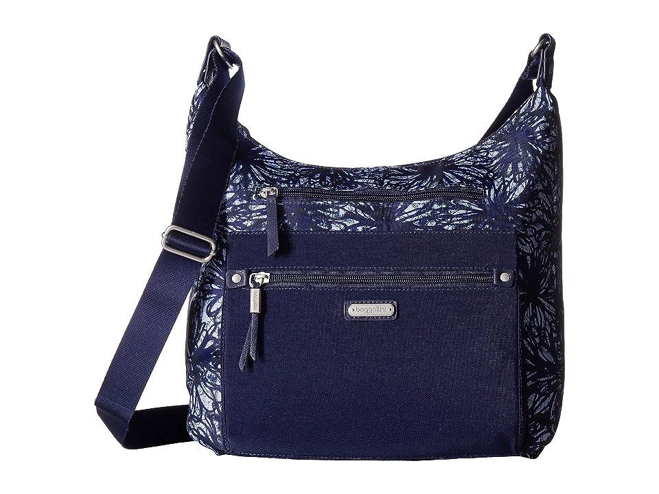 Baggallini New Classic Day Trip Hobo with RFID Phone Wristlet (Indigo Floral) Hobo Handbags