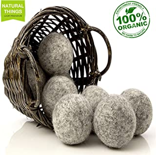 NaturalThings Organic All Natural Wool Dryer Balls, Natural Fabric Softener New Zealand Wool, Reusable XL 6 Pack. Reduce Wrinkles, Static Cling, Cut Energy Costs, Shorten Dry Time.