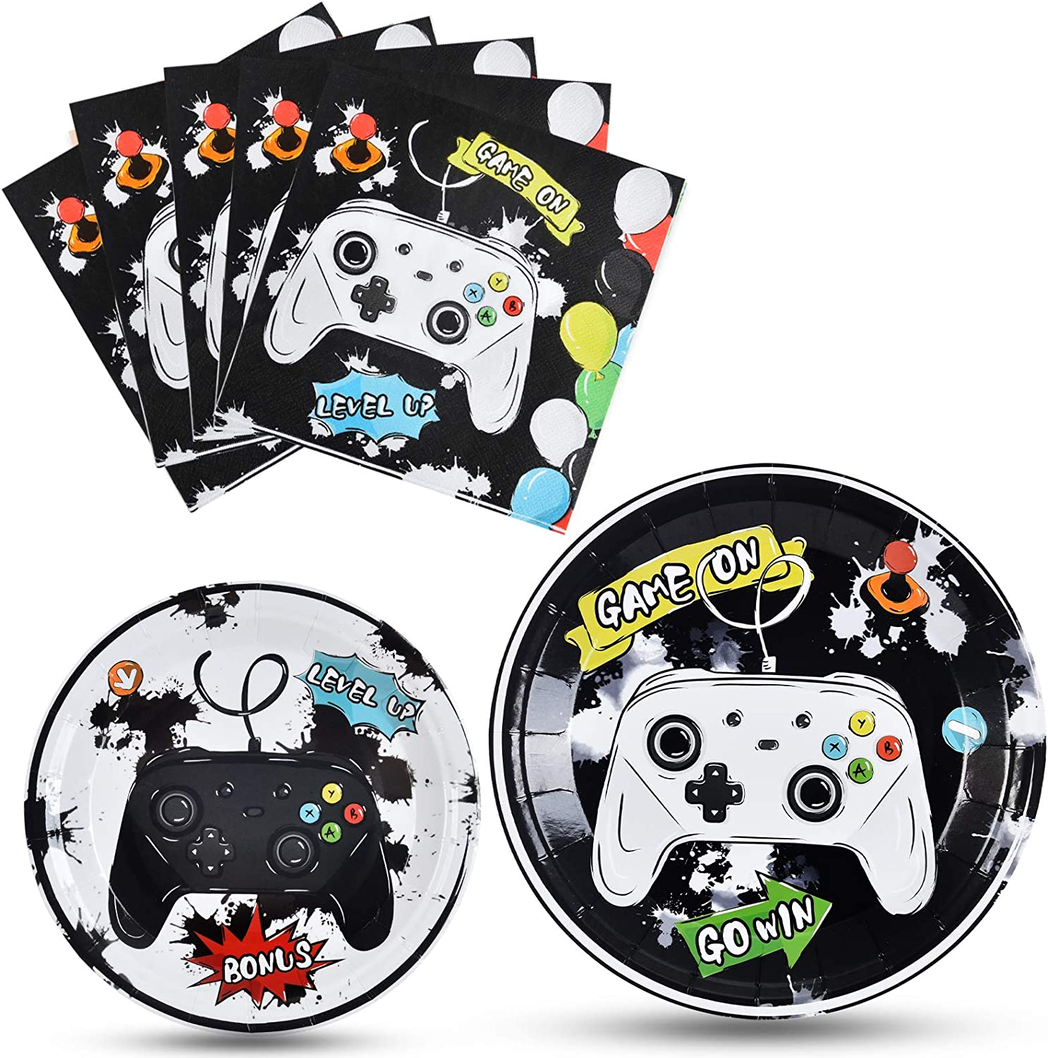 Watercolor Video Game Party Plates and Napkins - Gaming Birthday