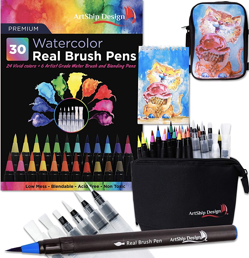Gift Pack 30 Watercolor Brush Pens, Matching Messenger Bag and Watercolor Pad, Custom Folding Upright Pen Case, 24 Colors 6 Water Brushes, Real Nylon Brush Tips, Watercolor Painting, Low Mess, Cat