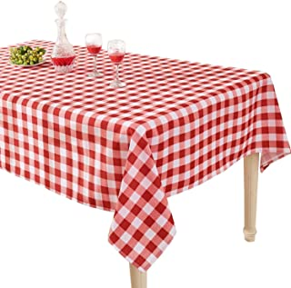 YEMYHOM 100% Polyester Spillproof Tablecloths for Rectangle Tables 60 x 84 Inch Indoor Outdoor Camping Picnic Rectangular Table Cloth (Red and White Checkered)