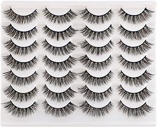 Newcally False Eyelashes Natural Wispy Faux Mink Cat Eye Lashes Light Volume Fake Eyelashes 14 Pairs Pack